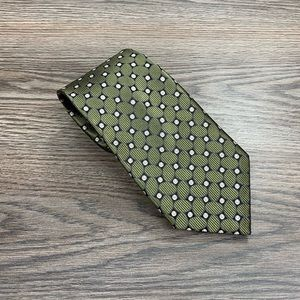 Jos A Bank Olive w/ Black & Gold Check Tie